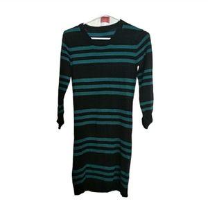 Teal and Black Striped Dress